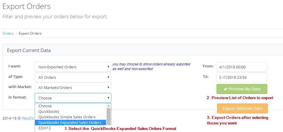Importing Sales Orders into Quickbooks from RepZio – RepZio